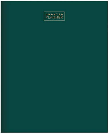 """TF PUBLISHING - Emerald Green Large Monthly Undated Calendar Planner - Home/Office Organizer - Weekly Spread - Multi-Tracker - Habit Chart - Lined Note Pages - Premium Paper - 11""""x9"""""""