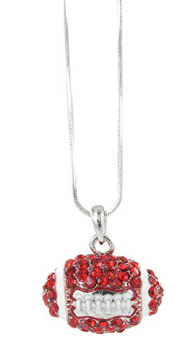 Dome Football Rhinestone Pendant Necklace - Red Crystal and White (Nfl Enamel)