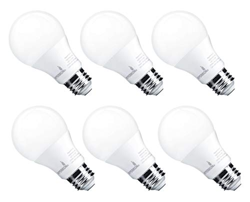 Hyperikon A19 Dimmable LED Light Bulb, 9W (60W Equivalent), ENERGY STAR Qualified, 3000K (Soft White Glow), CRI90+, 820 Lumens, Medium Screw Base (E26), UL-Listed, Standard Light Bulb (6 Pack)