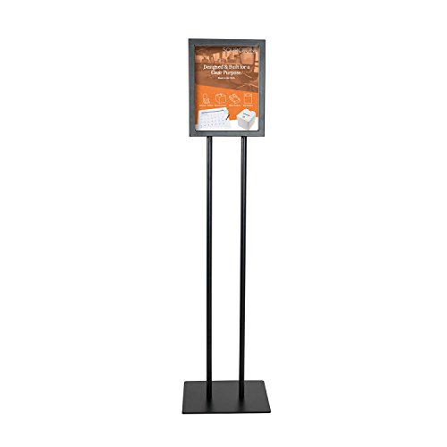 Source One Deluxe 8 1/2 x 11 Inch Floor Standing Sign Holders Black Heavy Duty Weighted Metal (8 1/2 x 11 Inch, Black)