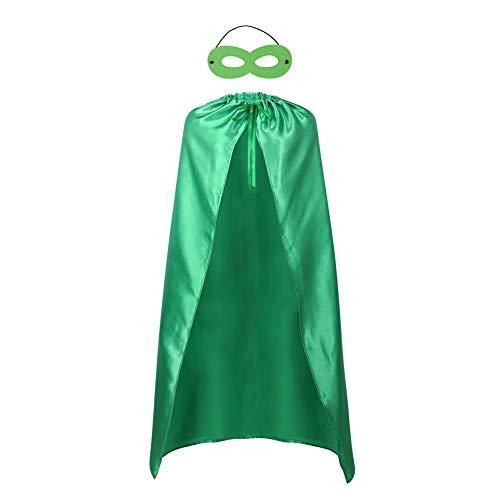 Adults Superhero Capes and Mask Set - Men & Women Cosplay Fancy Cloak-DIY Dress Up Halloween Costume Green