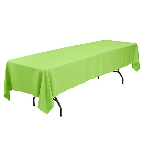 VEEYOO Rectangular Tablecloth 60 x 126 inch - Solid Polyester Table Cover for Wedding Restaurant Party Banquet, Apple Green Table -