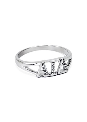 The Collegiate Standard Alpha Gamma Delta Sterling Silver Ring set w/Czs 8.0 ()