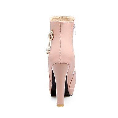Invierno Botas Media a Otoño Piel botas redonda punta Botas Stiletto Botas Sintética desy Tobillo mujer zapatillas Caña de a qwRPYHp