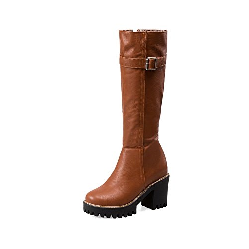High Toe Women's Pu Brown Heels Mid Closed Solid Top Round AgooLar Boots wtqYB11