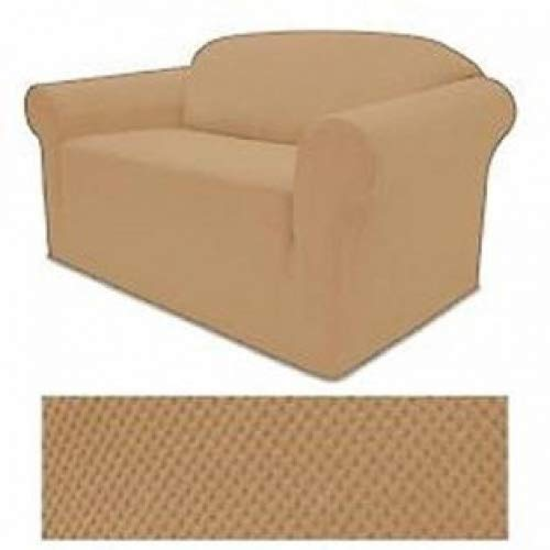 (STRETCH FORM FIT - 3 Pc. Slipcovers Set, Couch/Sofa + Loveseat + Chair Covers - LIGHT GOLD Color, Stretch Pique Fabric)