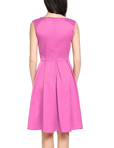 Flare Elegant Line Party Dress A ACEVOG Pleated Purple Women's Fit net Pink Cocktail Lace Club 5tnWWapq