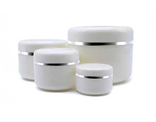 100 Ml Pot - 20ml/50ml/100ml/250ml Empty White Silver Edge Portable Refillable Plastic Cosmetic Makeup Face Cream Jar Sample Container Bottle Pot (100ml(3.4oz)-6PCS)