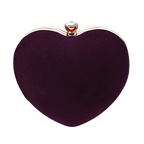 Felice Womens Girls Love Heart Shape Clutch Handbag Vintage Evening Tote Purse Luxury Party Prom Bag (purple)