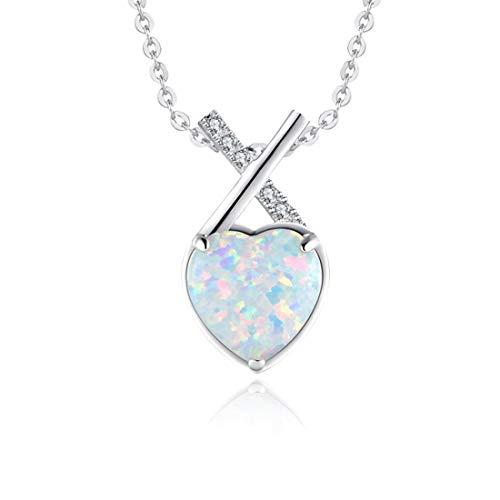 Fancime 925 Sterling Silver Heart Cross Necklace Opal Pendant Necklace Fine Gifts Jewelry for Women Girls 18