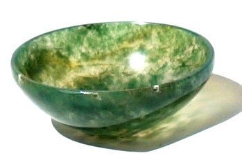 Healing Crystals India Natural Gemstone Moss Agate Stone Bowl SBL855 1 Piece Green GT