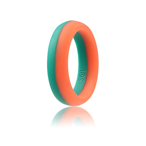 SOL Women's Silicone Wedding Ring, High-End Silicone Rubber, Pink with Teal Turquoise, Size 8