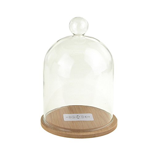 Homeford FPF0000000900464 Clear Glass Dome Display with Wooden Base, 6