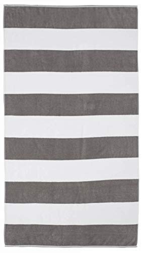 Cabana Home (Caro Home Cabana Beach Towel (Grey) - 100% Cotton Premium Quality X-Large Cabana Striped, Gray, 40