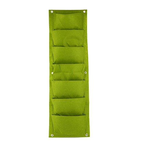 - ToGames 9630cm Green Vertical Garden Planter Wall-Mounted Planting Flower Grow Bag 7 Pocket Vegetable Living Garden Bag Home Supplies