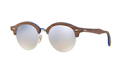 Ray-Ban Clubround RB4246M Wood Brown,Silver Gradient Flash ()