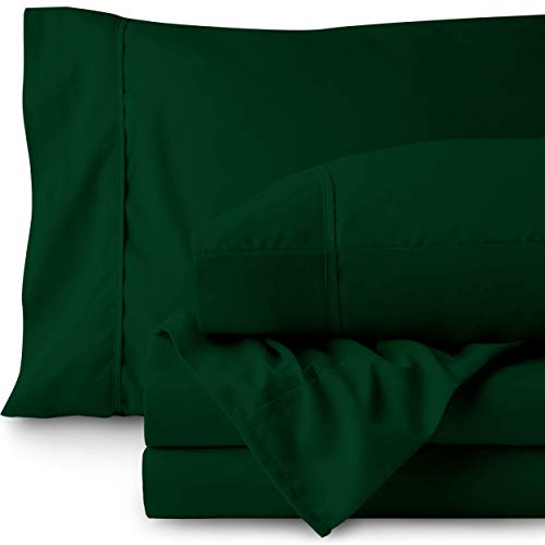 Bare Home Queen Sheet Set - 1800 Ultra-Soft Microfiber Bed Sheets - Double Brushed Breathable Bedding - Hypoallergenic - Wrinkle Resistant - Deep Pocket (Queen, Forest Green) ()