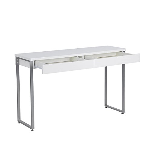 GreenForest 47' Console Table Sofa Table with 2 Drawers Writing Desk with Solid Metal Legs for Entryway Hallways Living Room, White