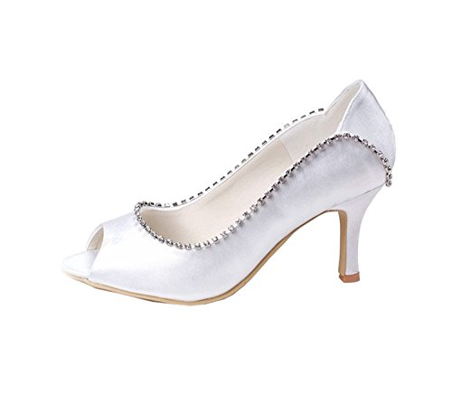 Minitoo GYMZ637 Womens Open Toe Kitten Heel Satin Rhinestone Bridal Wedding Shoes ivory-7cm Heel fza0vZAiO