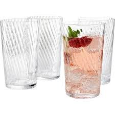 Martha Stewart Collection Winter White Set of 4 Clear Stripe Highball Glasses