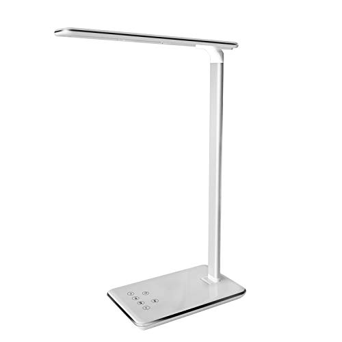 MACASA Led Desk Lamp 5W Dimmable Table Lamp with USB Charging Port,4 Color Temperatures,Touch Control,Timer Setting & Memory Function (White)
