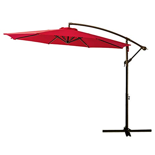 - FLAME&SHADE 10' Cantilever Outdoor Offset Patio Shade Umbrella Hanging Market Style for Outside Table Deck Backyard or Pool, Red