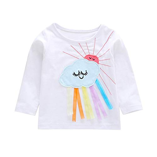 Toddler Baby Girl Clothes Sets for 6 Months-4T, Long Sleeve Shirt Cartoon Cloud Sun Applique Tops T-Shirt Outfit (12-18Months, White)