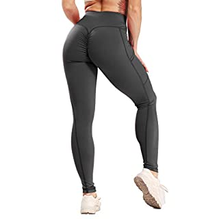 Women Scrunch Butt Yoga Leggings with Pockets Butt Lift Booty Leggings Tummy Control Workout Pants Flattering Gym Tight S