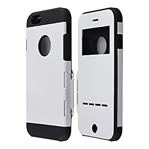 SHOUJIKE Protective PC Flip Armor Back Cover Case witn Visual Window, Magnetic Sliding Answer Call for iPhone 6 , White