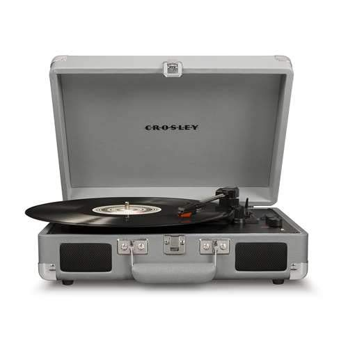 Deluxe Port Record (Crosley Cruiser Deluxe Bluetooth Enabled Portable 3 Speed Turntable, Cool Grey)