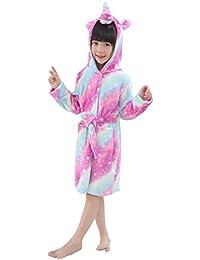 Hanax Kid Bathrobe Unicorn Flannel Ultra Soft Plush Comfy Hooded Nightgown Homewear