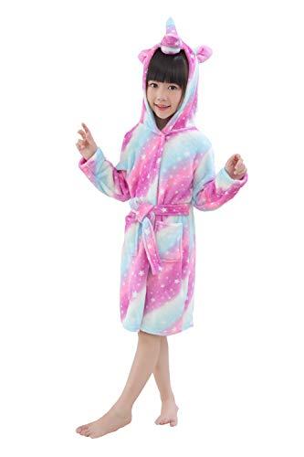 (RGTOPONE Kids Soft Bathrobe Unicorn Fleece Sleepwear Comfortable Loungewear (8-9 Years, Galaxy Unicorn))