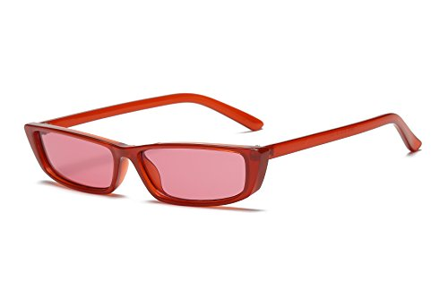 FEISEDY Vintage Square Sunglasses Small Acetate Frame Women Eyewear B2292 Red/Red