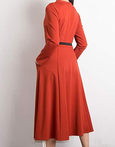 con Festa Moda Eleganti Partito Midi Vestiti Donne Vestito Pieghe a Lunga da V Primavera Abito Autunno Collo Cintura Cocktail arancio Abiti Manica Rosso HvUEZq8w
