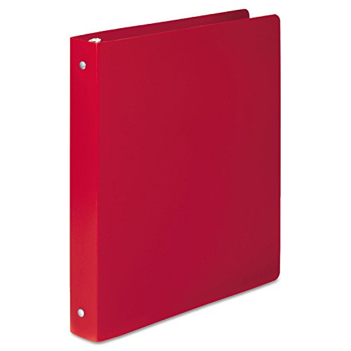 ACCO 39719 ACCOHIDE Poly Round Ring Binder, 35-pt. Cover, 1-Inch Cap, Executive Red