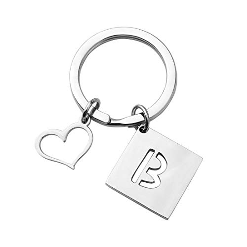 bobauna Stainless Steel Cut Out Alphabet Initial Letter Keychain Key Ring Personalized Gift (Letter B Keychain)