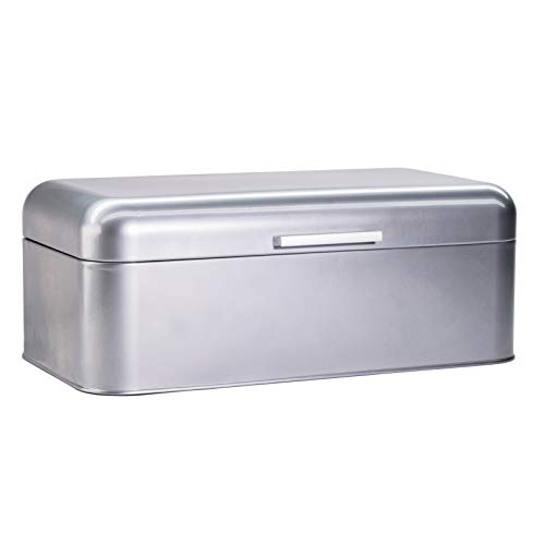 Large Grey Bread Box - Extra Large Storage Container for Loaves, Bagels, Chips & More: 16.5