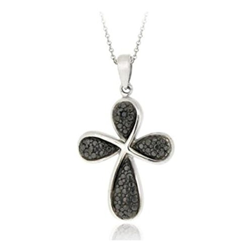 Glitzs Jewels Sterling Silver Black Simulated Diamond Accent Ribbon Cross Necklace