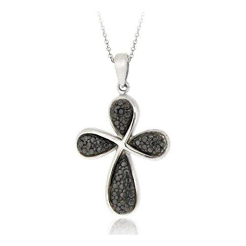 Glitzs Jewels Sterling Silver Black Simulated Diamond Accent Ribbon Cross -
