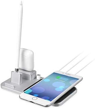 ZUEN Supporto Caricabatterie Wireless Veloce Compatibile con iPhone X, Dock di Ricarica Apple 4 in 1 per Apple Pencil, Airpods, iPhone 8/8 Plus/X/XS/XS Max /,Silver