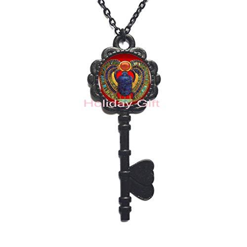 Fashion Key Necklace,Fashion Egyptian Scarab Key Necklace, Ancient Egypt Jewelry, Egypt Key Necklace, Egyptian Jewelry for Women,H038 ()