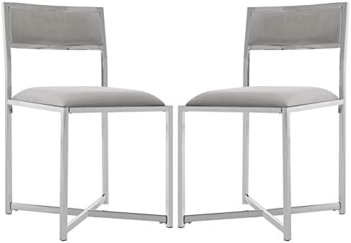 Safavieh Home Menken Grey Velvet and Chrome Side Chair