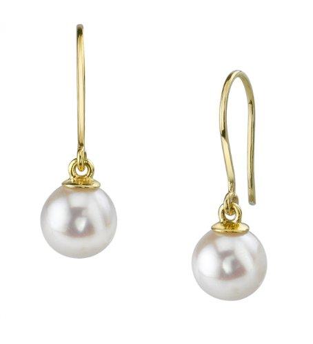 14K Gold White Akoya Cultured Pearl Linda Earrings