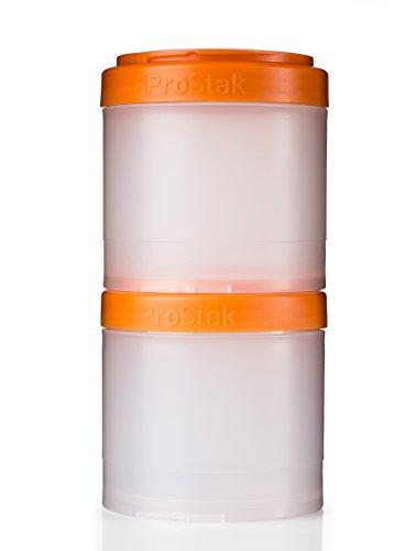 BlenderBottle ProStak Twist n Lock Storage Jars Expansion 2-Pak with Pill Tray, Clear/Orange