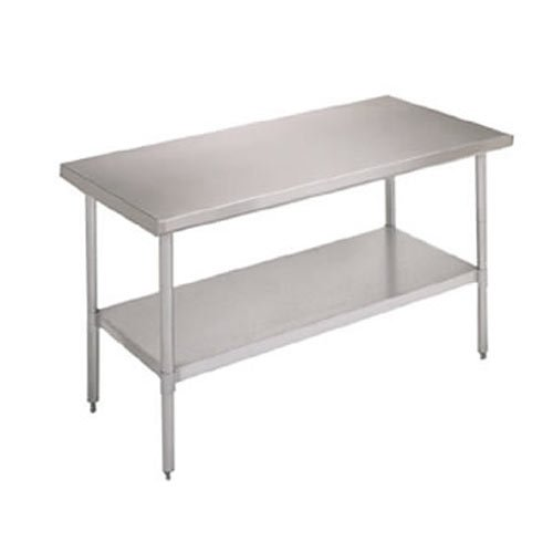 John Boos E Series Stainless Steel 430 Budget Work Table, Adjustable Undershelf, Flat Top, Galvanized Legs, 48'' Length x 30'' Width by John Boos