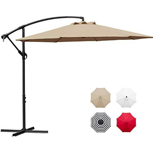 Sunnyglade 10' Outdoor Adjustable Offset Cantilever Hanging Patio Umbrella (Tan) (Home Patio Depot Umbrellas At)
