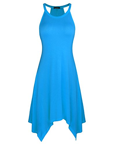 Kilig Women's Irregular Hem Asymmetrical Summer Sleeveless Dress Pockets