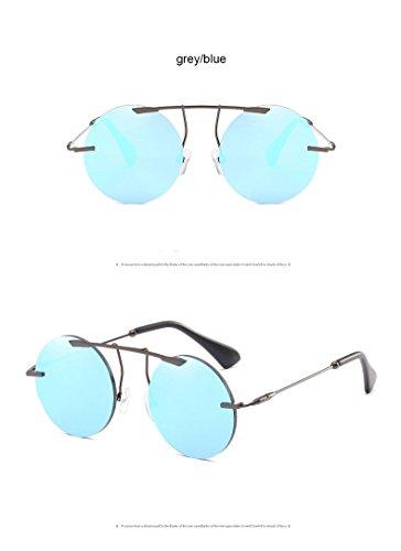 Vintage de Steampunk Lunettes Classique Eyewear Luxe bleu gris Retro Hommes de ZHANGYUSEN Métal Femmes Soleil Ronde Fframe en FvztxB
