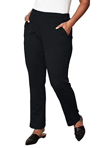 Roamans Women's Plus Size Petite Soft Knit Straight-Leg Pants - Black, ()