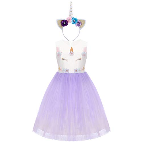 Flower Girl Rainbow Unicorn Tulle Dress with 3D Embroidery Beading Birthday Party Ball Gowns Z# Light Purple+Headband 6-7 Years